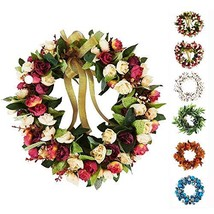 Baigio Woman 14inch Flower Wreath Handmade Artificial Floral Silk Wreath... - $24.21