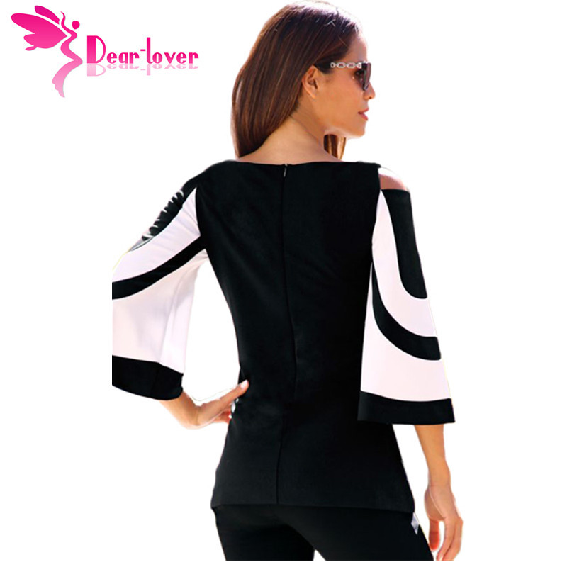 DearLover Women Blouse Black White Colorblock Bell Sleeve Cold Shoulder Top Muje image 2