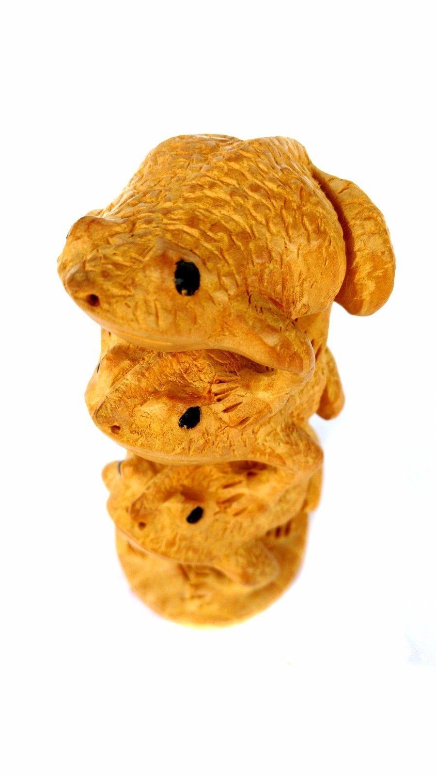 Carved Rare Wild Animal 3 Frog Sculpture Figurine Wooden Frog Statue Art Hand