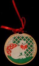 1986 Hallmark Keepsake Ornament Niece Fabric Kitty Cat in Wooden Hoop Re... - $3.46