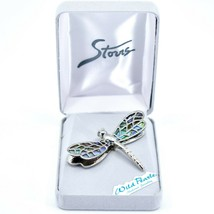 A.T. Storrs Wild Pearle Abalone Shell Filigree Dragonfly Silver Tone Pin Brooch