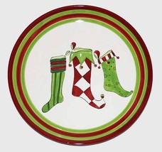 "ELF STOCKINGS in Stripes Argyle Polka Dots 14-1/4"" Christmas Ceramic Pla... - $24.99"