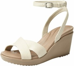 Crocs Women's LeighIICross-StrapAnkle Wedge Sandal,Oatml/Mushrm 4 M US/2.5UK/34 - $25.00