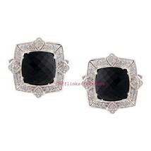 925 Sterling Silver Natural Black Onyx & C Z Gemstone Men's Amazing Cufflinks J - $80.00