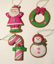 Set of 4 Clay Pink Christmas Ornament Ornaments Santa Wreath Candy Cane ... - $16.50