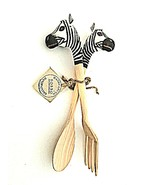 Handcrafted Zebra Toss & Serve Salad Fork Spoon BOBBO Made in Indonesia ... - $14.84