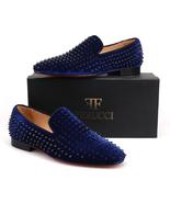 Men FERUCCI Blue Velvet Slippers Loafers Flat With Black Spikes Rivet - $199.99