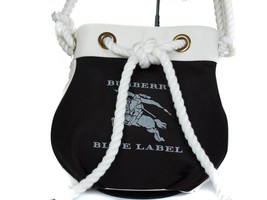 Auth BURBERRY LONDON BLUE LABEL Nylon Canvas Dark Brown Shoulder Bag BS1... - $239.00