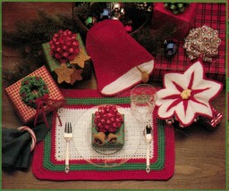 1988 Christmas Crochet Afghans Bell Potholders Ornaments Stocking Angel ... - $11.99