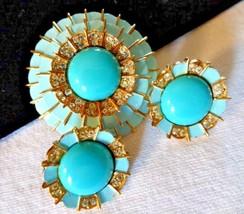 Vintage Turquoise Cabochon Enamel Rhinestone Accent Brooch Earring Set G... - $61.00