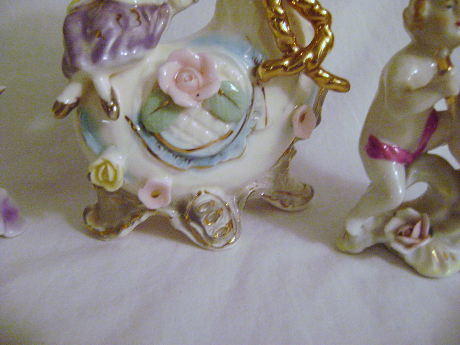 Vintage Victorian Style Vases with attached Figures