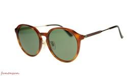Nuevo Gucci Gafas de Sol Unisex GG0205SK 004 Havana Verde Lente Redondo ... - $195.01