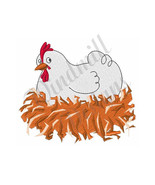 Hen On Nest Chicken - Machine Embroidery Design - $3.49