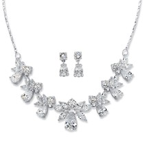 24.55 TCW Pear Cubic Zirconia Silvertone 2-Piece Earrings and Necklace S... - $39.99