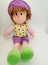 Goffa Soft Plush Doll Girl Purple Green Polka Dot Corduroy Yarn Hair Brown - $29.68