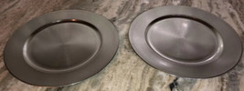"Silver Faux 13"" Charger Plates-Set of 2-Made of Thick Plastic-Brand New-... - $8.70"