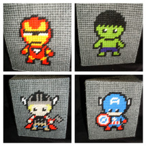 Plastic Canvas Avengers Tissue Box Cover - $15.00