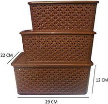 Set of 3 Small, Medium & Big Baskets With Lid Brown Color 100% Virgin Pl... - $33.76