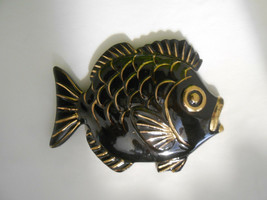 Vintage ESD Japan Ceramic Fish Wall Plaque Black and Gold - $19.00