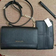 Michael Kors Saffiano Leather 3-in-1 Crossbody Clutch Black Gold-tone Black - $138.60