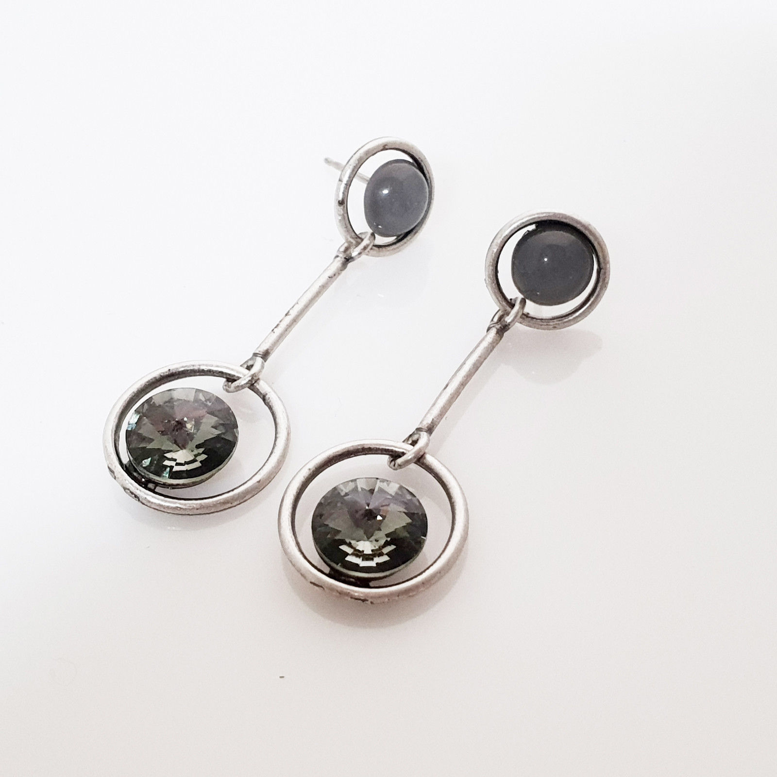 SE51 Women Two Circle Drop Earrings Made With Swarovski Crystal Silver 925