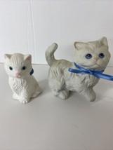 "Homco White Ceramic Blue Ribbons Blue Eyes + Small White Cat Pink Ears  3.5"" - $16.78"