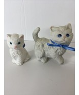 Homco White Ceramic Blue Ribbons Blue Eyes + Small White Cat Pink Ears  ... - $16.78