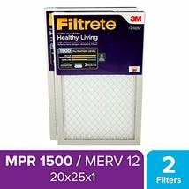 Filtrete UR03-2PK-1E 20x25x1, AC Furnace Air Filter, MPR 1500, Healthy L... - $26.50