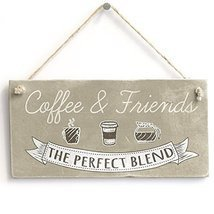 "Meijiafei Coffee & Friends - Retro Kitchen Sign/ Plaque Friendship Gift 10""x5"""
