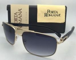 Porta Romana Sonnenbrille 1963 100Y 63-17 Piloten Gold & Holz Rahmen mit / Grau