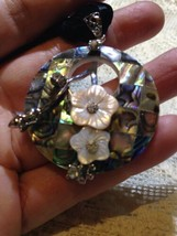 Vintage Genuine Abalone Shell Crystal 925 Sterling Silver Antique Pendan... - $51.48