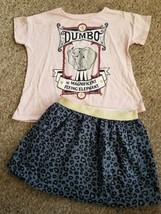 DISNEY Pink DUMBO Top CARTER'S Blue Print Skirt Girls Size 6 6X - $4.88