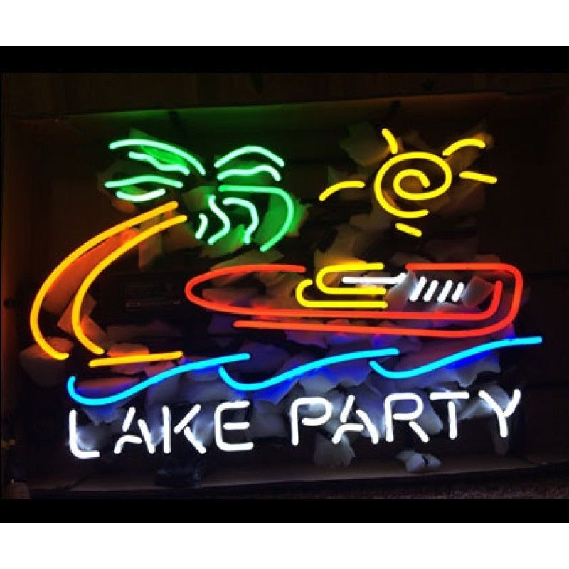 """New Lake Party Palm Tree Party At The Lake BEER BAR Neon Sign 24""""x20"""""""