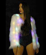 Womens Faux Fur LED Jacket Light Up Rave Stage Coat image 2
