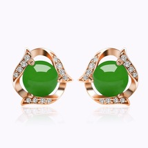 Fashion Vintage Women Earrings with Green Agate - $9.99
