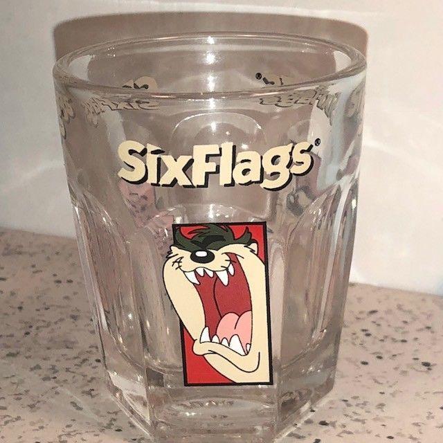 TAZ SHOT GLASS TASMANIAN DEVIL 6 SIX FLAGS THEME PARK SHOTGLASS LOONEY TUNES TAZ
