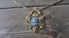Vintage Gold Tone Silver Tone Faux Coin Columbus Necklace Signed ART - $31.67