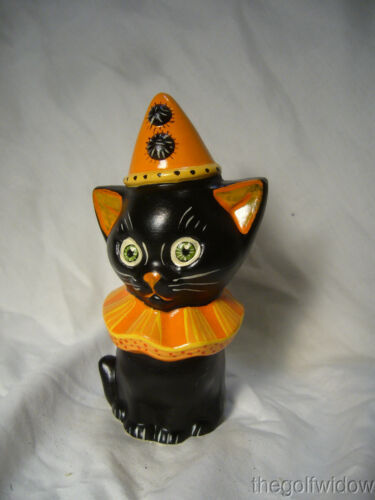 Vaillancourt Folk Art Halloween Black Cat with a Hat Signed by Judi Vaillancourt