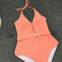 Woman V-Neck One Piece Swimsuit Sexy Bathing Suit Lace Up Halter Swimwear Suit image 9