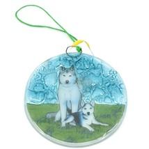 Handmade Fused Art Glass Siberian Husky Puppy Dog Ornament Sun Catcher Ecuador