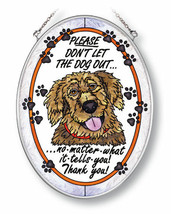 """Don't Let Dog Out Sun Catcher AMIA Hand Painted Glass 7""""x5"""" Oval No Matt... - €23,43 EUR"""