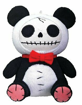 Furrybones Panda Bear Pandie Wearing Red Bow Tie Small Plush Doll