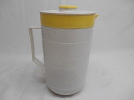 Old Vtg CORNISH THERM-O-PITCHER Yellow Gray Speckled Pitcher Mid-Century... - $19.79