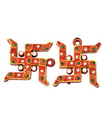 Wood Swastika Wall Hanging Home Decorative Swastika for Luck and positiv... - $9.95