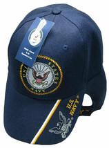 U.S. Navy Emblem With Shadow On Bill Hat Navy Blue Embroidered Cap  - $21.77