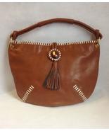 Cognac Brown Faux Leather Purse Handbag Tote White Laces Rhinestone Tassel  - $49.00