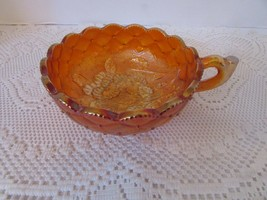 Imperial Carnival Glass Pansy Nappy Bowl Quilted & Florals Finger Hole Marigold - $19.75