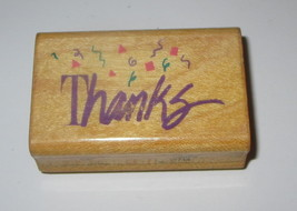 Thanks Confetti Rubber Stamp Comotion Retired Thank You Wood Mounted  - $4.94