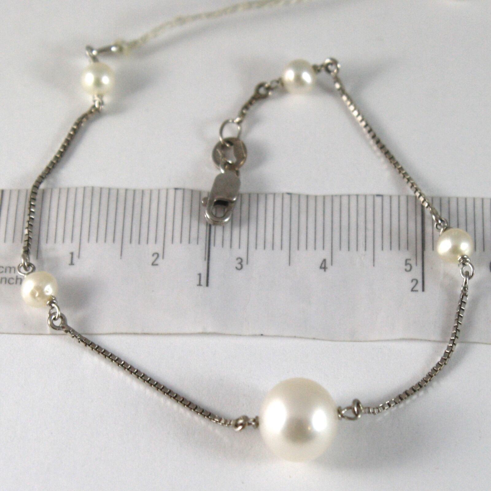 Bracelet White Gold 750 18K, White Pearls Diameter 4 and 10 mm, Chain Venetian