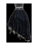 Goth Victorian Steampunk Black Lace Knee Length Asymmetrical Ruffle Skirt - $52.71